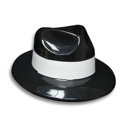 Black gangster hat with white ribbon - pack of 12