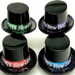 Chapeau haut noir avec bande assortie Happy New Year -paquet de 48